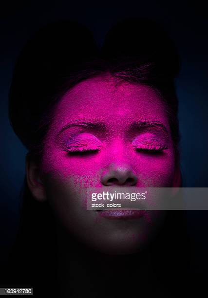 fluorescent makeup - holi stock pictures, royalty-free photos & images