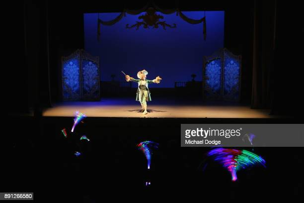 Fluorescent sticks are waved as crowd interact as rehearsals take place of Storytime Ballet The Sleeping Beauty at Melbourne Arts Centre on December...