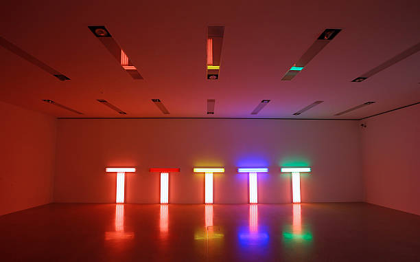 Fluorescent Tube Artwork Creations By US Artist Dan Flavin Are Seen As Part Of The