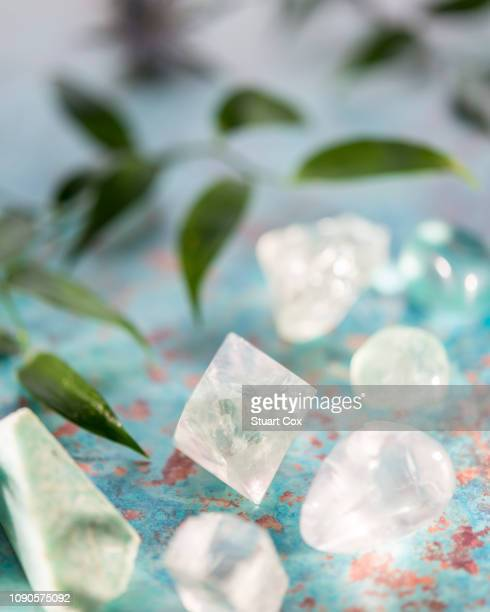 fluorite, nephrite, prasiolite, optical calcite and quartz. - fluorite stock pictures, royalty-free photos & images