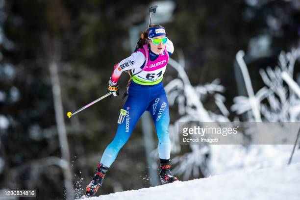 Flurina Volken of Switzerland in action competes during the Women 15 km Individual Competition at the IBU Open European Championships Duszniki Zdroj...