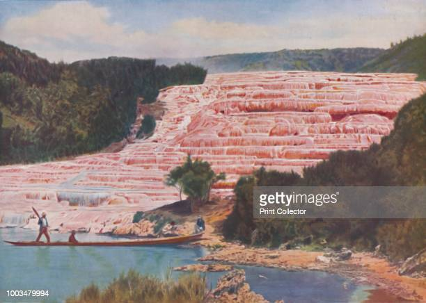 Flushed Beauty of New Zealand's Pink Terraces Before Their Utter Destruction', circa 1935. From Our Wonderful World, Volume I, edited by J.A....