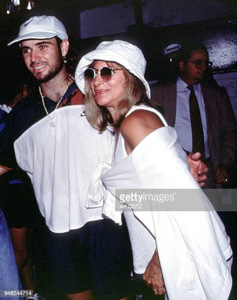 Flushing Meadow New York Andre Agassi and his alleged girlfriend Barbra Streisand at the 1992 US Open in New York City