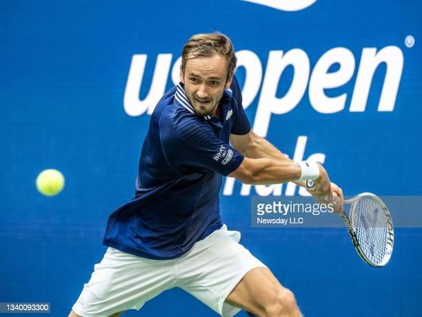 Flushing Meadows, N.Y.: Daniil Medvedev hitting a backhand during the 2nd set against Novak Djokovic in the US Open men's final at Arthur Ashe...