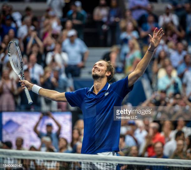 Flushing Meadows, N.Y.: Daniil Medvedev raises his arms after defeating Novak Djokovic in straight sets 6-4, 6-4, 6-4, in the men's final of the US...