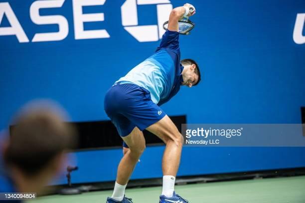 Flushing Meadows, N.Y.: Novak Djokovic breaks his racket during the 2nd set of the the US Open men's final against Daniil Medvedev at Arthur Ashe...
