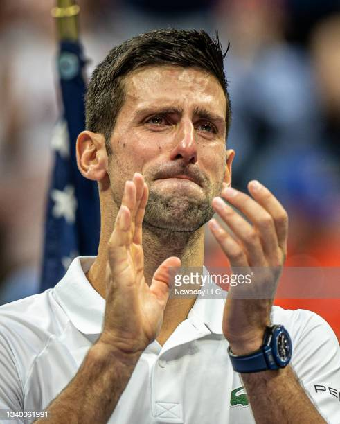 Flushing Meadows, N.Y.: Novak Djokovic in tears after losing to Daniil Medvedev in straight set in the men's final of the US Open at Arthur Ashe...