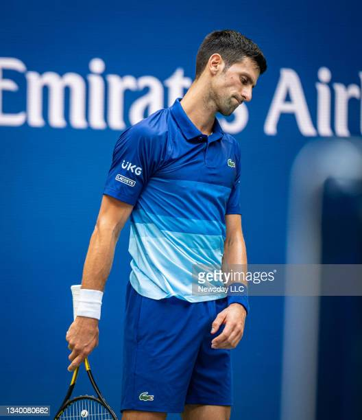 Flushing Meadows, N.Y.: Novak Djokovic reacts after hitting a bad shot in the 1st set against Daniil Medvedev in the US Open men's final at Arthur...