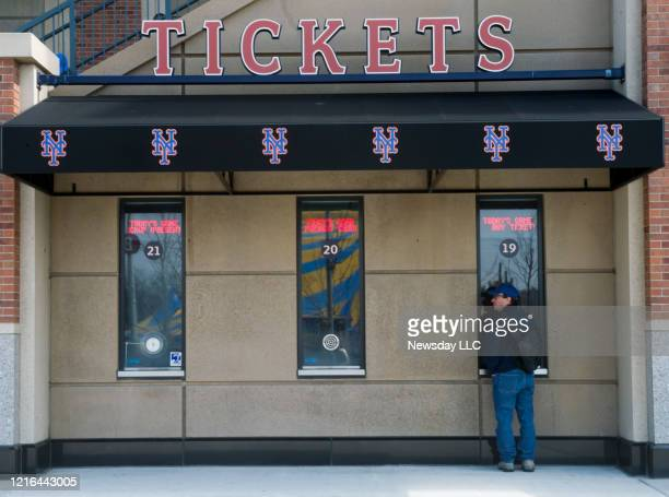 Met fan at the ticket window before the start of the New York Mets' home opener against the San Diego Padres at Citi Field in Flushing, New York on...