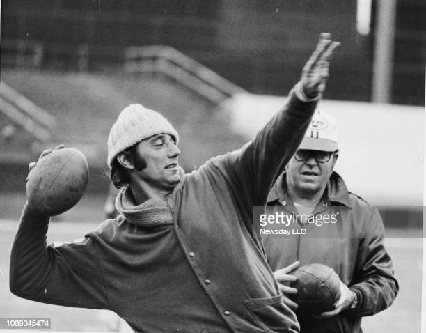 Joe Namath gets set to throw a long bomb during Jets workout at Shea Stadium in Flushing New York on November 16 1971