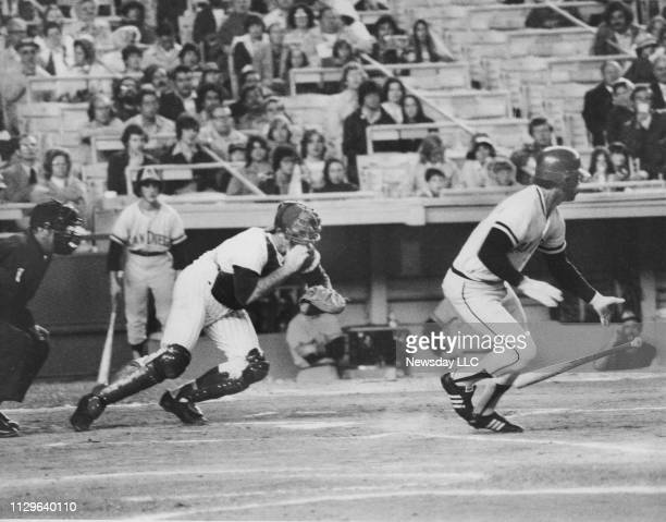 New York Mets catcher Jerry Grote in action behind home plate against the San Diego Padres at Shea Stadium in Flushing, New York on May 30, 1975.