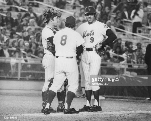 New York Mets manager Yogi Berra stands in between third baseman Joe Torre and catcher Jerry Grote as they wait for relief pitcher Bob Apodaca to...