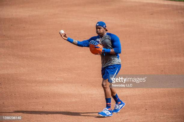 New York Mets outfielder Yoenis Cespedes during a baseball workout at Citi Field in Flushing, New York, on July 8, 2020.