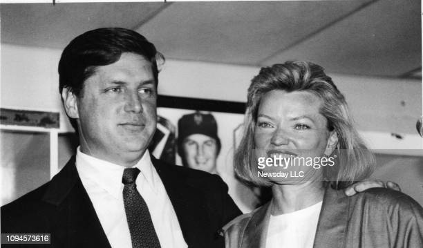New York Mets pitcher Tom Seaver standing next to his wife Nancy announces his retirement from baseball at Shea Stadium in Flushing Queens on June 22...