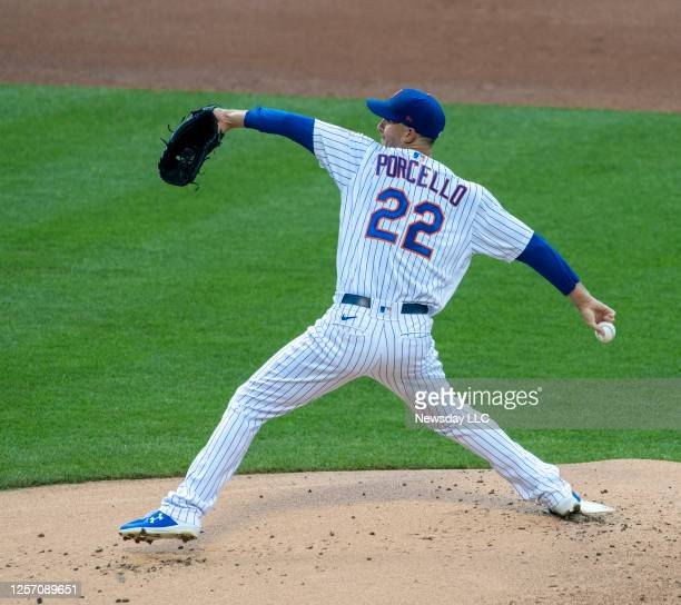 The New York Mets' starting pitcher Rick Porcello pitching in the top of the first inning against the New York Yankees in a pre-season exhibition...