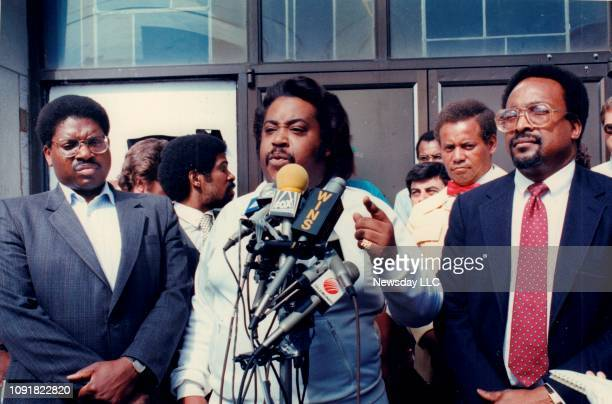 Attorney Alton Maddox Rev Al Sharpton and attorney C Vernon Mason on the front steps of the Ebenezer Baptist Church in Flushing New York on June 8...