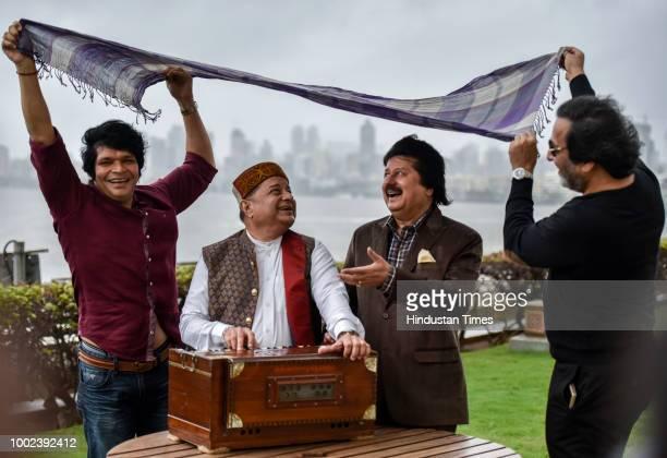 Flute maestro Rakesh Chaurasia with ghazal singers Anup Jalota Pankaj Udhas and Talat Aziz at the announcement of 17th Khazana A Festival of Ghazals...