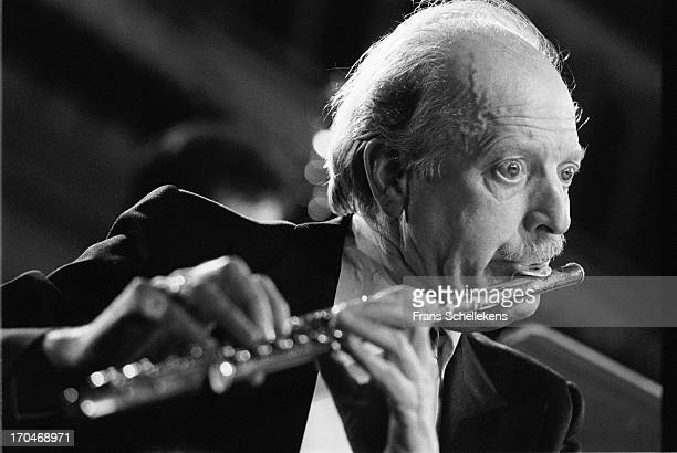 Flute player Koos Verheul performs with Circle Ensemble at the Paradiso in Amsterdam, Netherlands on 16th February 1988.