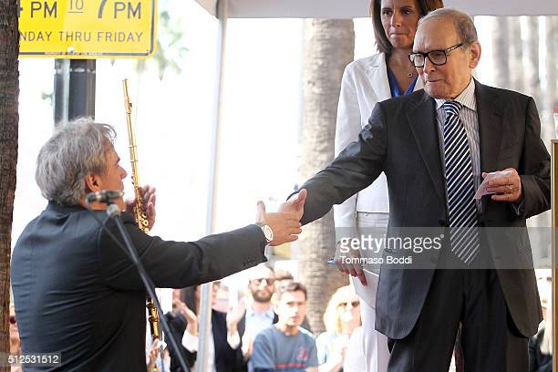 Flutist Andrea Griminelli and composer Ennio Morricone attend a ceremony honoring composer Ennio Morricone wtih a star on The Hollywood Walk Of Fame...