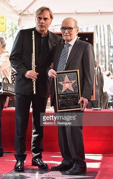 Flutist Andrea Griminelli and composer Ennio Morricone attend a ceremony honoring Ennio Morricone with the 2575th Star on The Hollywood Walk of Fame...