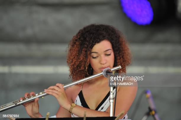 Flutist Elena Pinderhughes takes a solo during her performance at the Newport Jazz Fesival July 30 2016 in Newport Rhode Island / AFP PHOTO / Eva...