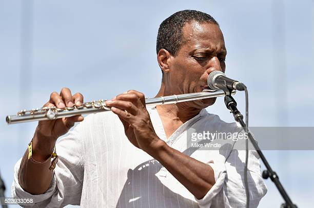 Flutist Rickey C Washington of Kamasi Washington performs onstage during day 3 of the 2016 Coachella Valley Music Arts Festival Weekend 2 at the...