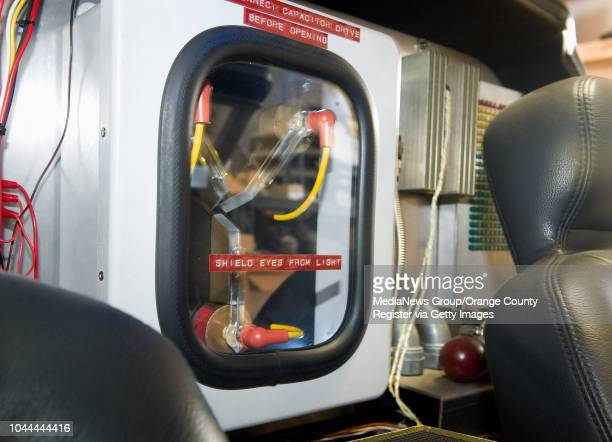 A flux capacitor sits between the driver and passenger seat in a replica of the DeLorean time machine from the Back to the Future movies The car is...