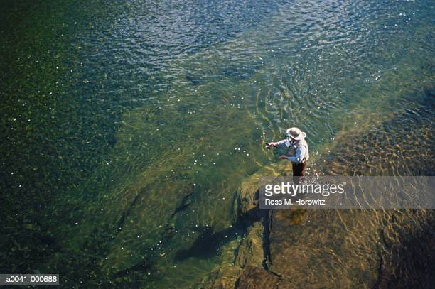 fly fisher in river - waist deep in water stock pictures, royalty-free photos & images