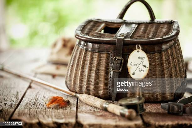 fly fishing background - basket stock pictures, royalty-free photos & images