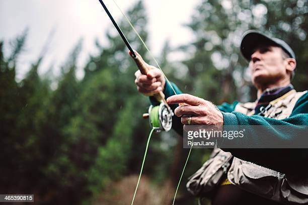 fly fishing in bend oregon - fly casting stock pictures, royalty-free photos & images