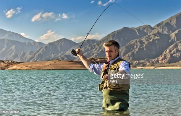 Fly fishing on lake