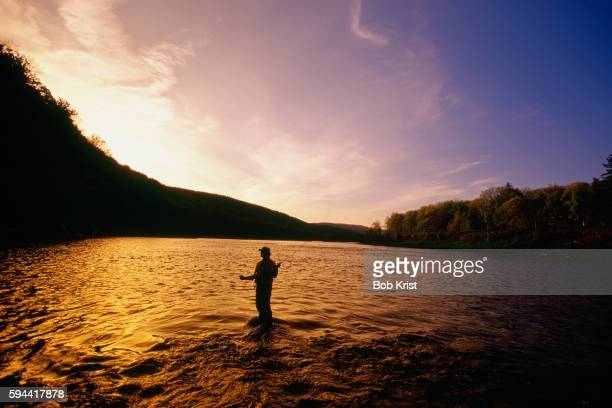 Fly Fishing on the Delaware River at Sunset