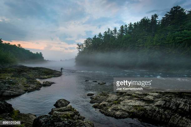 fly fishing on the kennebec river, maine - maine stock pictures, royalty-free photos & images
