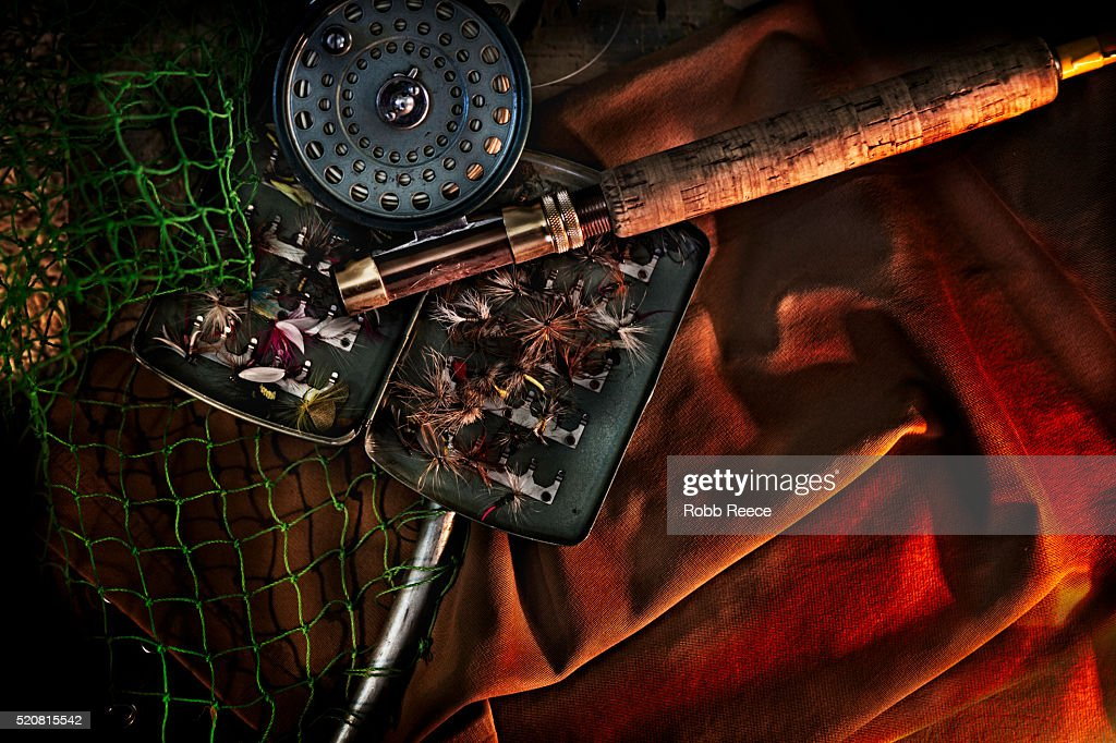 Fly fishing rod, reel and flies : Stock Photo