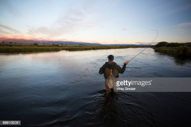 fly fishing the teton river in idaho - fly fishing stock photos and pictures