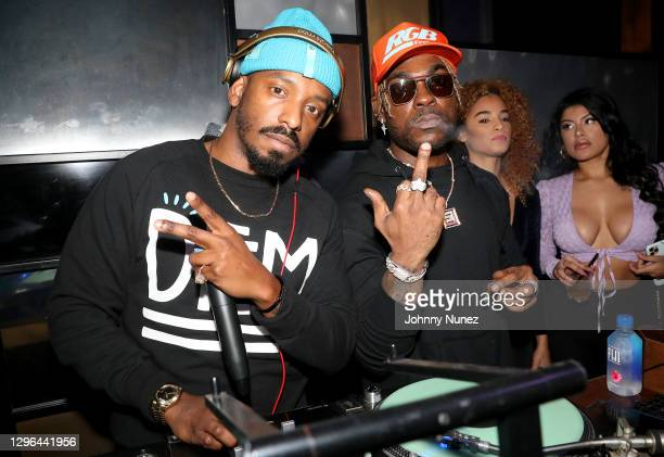 Fly Guy and DJ Stevie J attend Barry Mullineaux's birthday party hosted by 50 Cent on January 14, 2021 in Miami, Florida.