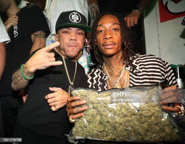 Daytona and DJ Reach attend the Wiz Khalifa album release party on July 17 2018 in New York City