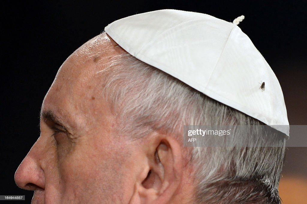 A fly is seen on the head of Pope Francis during the celebration of the Way of the Cross on Good Friday on March 29, 2013 at the Colosseum in Rome. Pope Francis presided over his first Good Friday which will culminate in a torch-lit procession at Rome's Colosseum and prayers for peace in a Middle East 'torn apart by injustice and conflicts'.