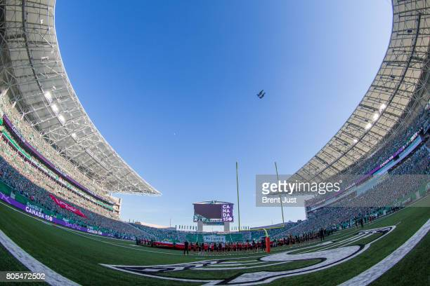 Fly over before the game between the Winnipeg Blue Bombers and Saskatchewan Roughriders at Mosaic Stadium on July 1 2017 in Regina Canada
