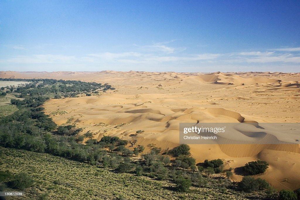 Fly over the dunes. Namib Desert, river Kuiseb, Namibia, Africa : Stock Photo