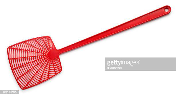 fly swatter on white - swat stock pictures, royalty-free photos & images