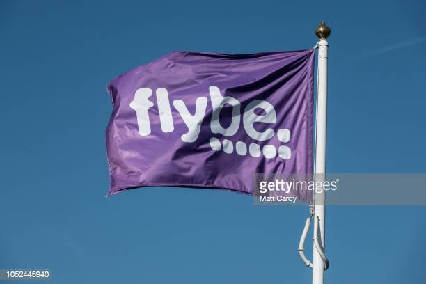 Flybe airline flag is pictured at Exeter Airport near Exeter on October 18 2018 in Devon England The value of shares in the Exeterbased airline Flybe...