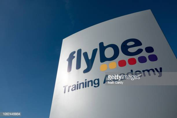 Flybe airline sign is pictured at Exeter Airport near Exeter on October 18 2018 in Devon England The value of shares in the Exeterbased airline Flybe...