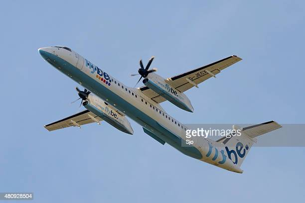 Flybe Bombardier Dash 8 or Q-Series airplane flying