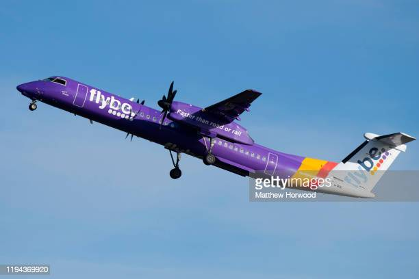 Flybe Bombardier DHC8 Q400 aircraft at Cardiff Airport on January 18 2020 in Cardiff United Kingdom British airline Flybe who account for 36% of UK...