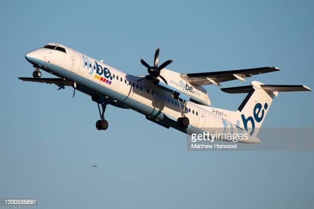 Flybe De Havilland Canada Dash 8400 aircraft at Cardiff Airport on January 19 2020 in Cardiff United Kingdom British airline Flybe who account for...