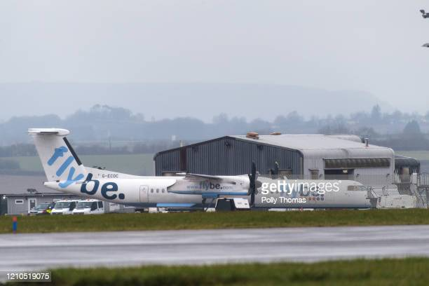Flybe plane grounded at Cardiff Airport after the airline went into administration and cancelled all flights on March 5 2020 in Cardiff United...