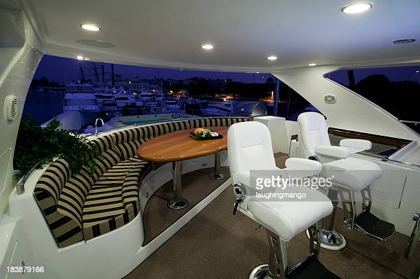 flybridge deck luxury motor yacht - luxury yacht stock pictures, royalty-free photos & images