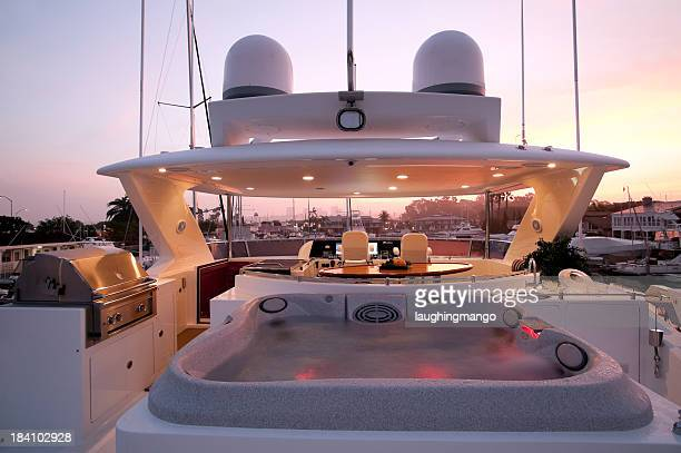 flybridge deck luxury motor yacht - yacht stock pictures, royalty-free photos & images