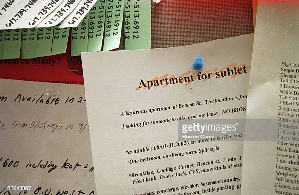Flyer advertising an apartment for sublet hangs at Boston University on a bulletin board in the student union.